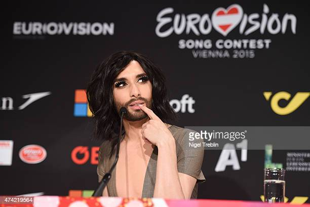 Conchita Wurst is pictured during a press conference ahead of the Eurovision Song Contest 2015 on May 21 2015 in Vienna Austria The final of the...
