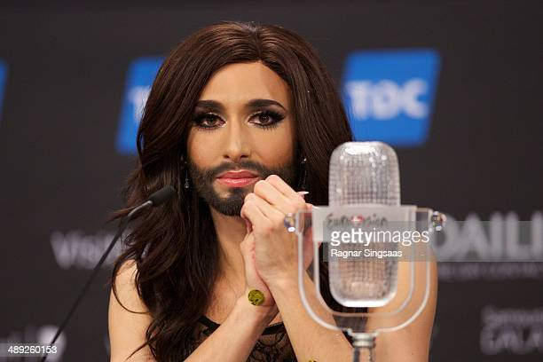 Conchita Wurst of Austria attends a press conference after winning the Eurovision Song Contest 2014 on May 10 2014 in Copenhagen Denmark