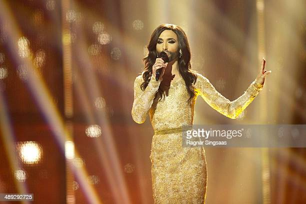 Conchita Wurst of Austria performs on stage during the grand final of the Eurovision Song Contest 2014 on May 10 2014 in Copenhagen Denmark