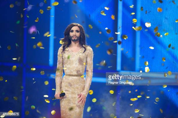 Conchita Wurst of Austria wins the Eurovision Song Contest 2014 on May 10 2014 in Copenhagen Denmark