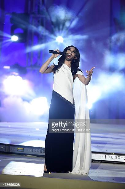 Conchita Wurst performs during the Life Ball 2015 show at City Hall on May 16 2015 in Vienna Austria