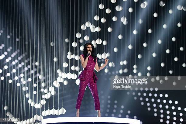 Conchita Wurst performs on stage during rehearsals for the final of the Eurovision Song Contest 2015 on May 22 2015 in Vienna Austria The final of...