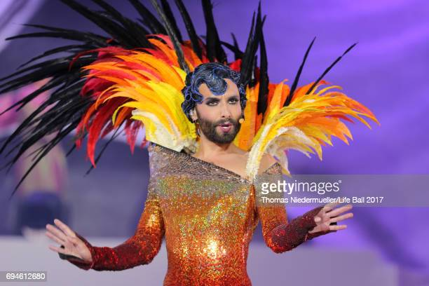Conchita Wurst performs on stage during the Life Ball 2017 show at City Hall on June 10 2017 in Vienna Austria