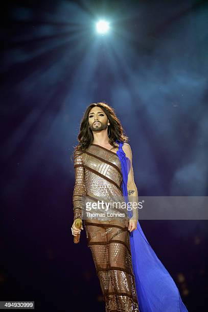 Conchita Wurst performs on stage during the Lifeball 2014 at City Hall on May 31 2014 in Vienna Austria