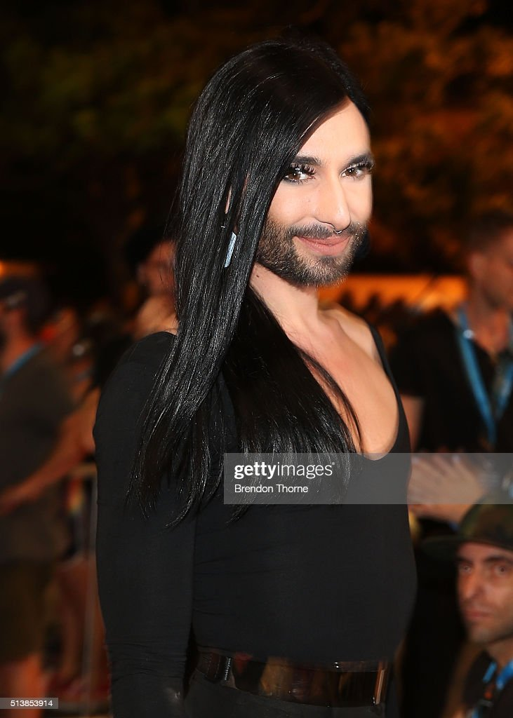 Conchita Wurst poses during the 2016 Sydney Gay & Lesbian Mardi Gras Parade on March 5, 2016 in Sydney, Australia. The Sydney Mardi Gras parade began in 1978 as a march and commemoration of the 1969 Stonewall Riots of New York. It is an annual event promoting awareness of gay, lesbian, bisexual and transgender issues and themes.