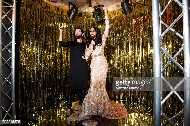 Conchita Wurst presents her own wax figure at Madame Tussauds on May 8 2016 in Berlin Germany