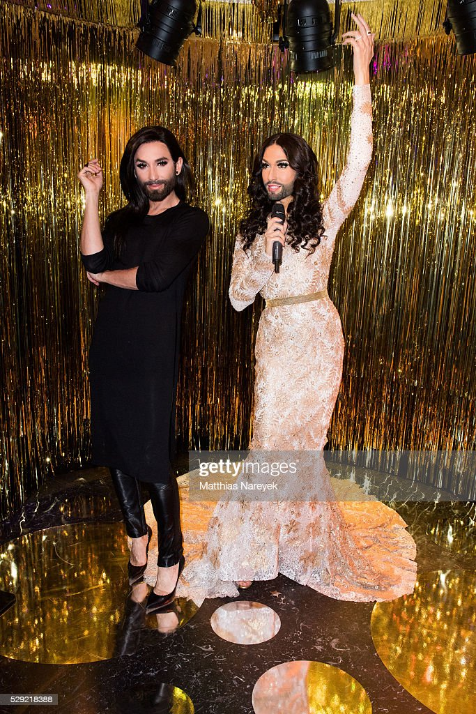 Conchita Wurst presents her own wax figure at Madame Tussauds on May 8, 2016 in Berlin, Germany.