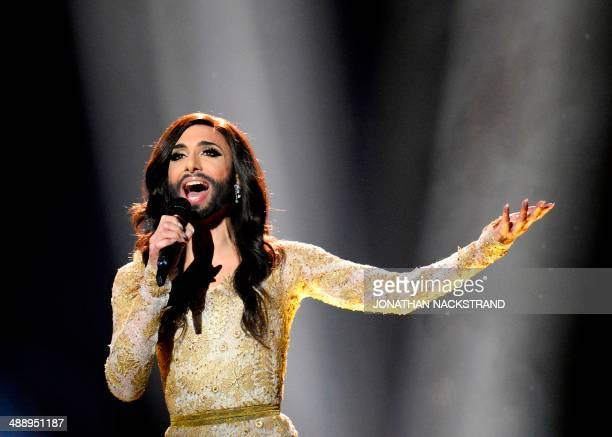 Conchita Wurst representing Austria performs the song 'Rise Like A Phoenix' during the dress rehearsal for the Eurovision Song Contest 2014 Grand...
