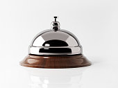 Concierge bell isolated on white background. Horizontal composition with copy space. Clipping path is included.