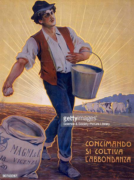 'Concimando si Coltiva L'Abbondanza' Poster produced for Magni Co an Italian agricultural supply company from a coloured lithograph showing a man...