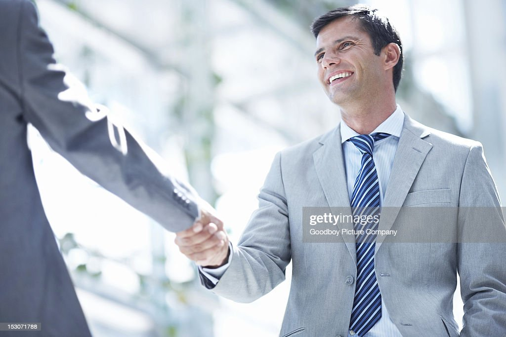 Concluding their meeting : Stock Photo