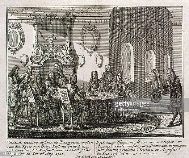 Conclusion of the Peace Treaty of Nystad on 20th August 1721 Schenk Petrus Found in the collection of the State Hermitage St Petersburg