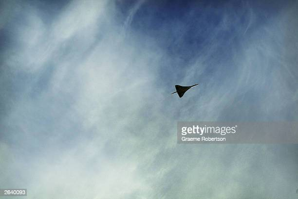 Concorde flys over Heathrow Airport on October 24 2003 London British Airways is due to fly Concorde into Heathrow airport for the last time on a...