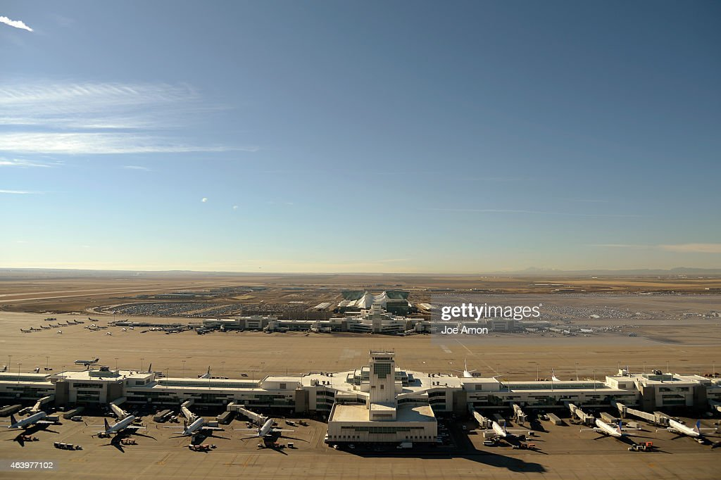 Concourse B and A from the FAA control tower at Denver International Airport February 20 2015 Denver CO