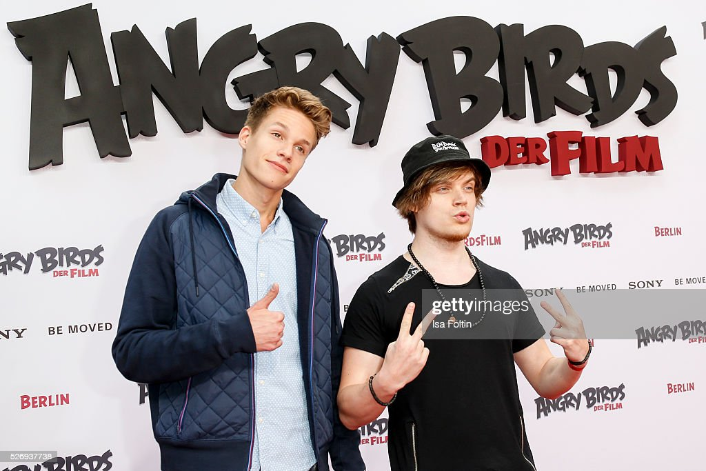 Luca aka ConCrafter and Viktor aka iBlali attend the Berlin premiere of the film 'Angry Birds - Der Film' at CineStar on May 1, 2016 in Berlin, Germany.
