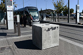 Concrete blocks are placed near the entrances to Jerusalem light rail stations to deter future attacks on passengers and pedestrians on November 06...