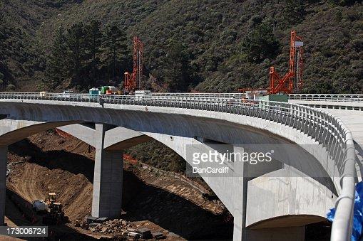Concrete bridge under construction across fort valley
