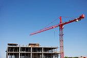 Concrete building construction and crane