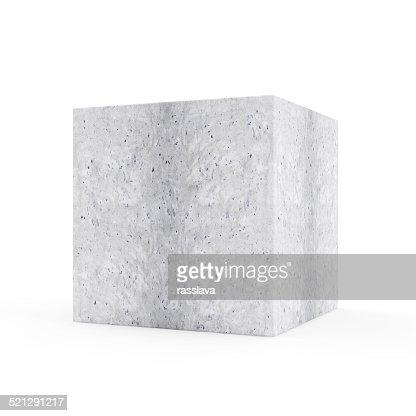 Concrete Cube isolated on white background : Stock Photo