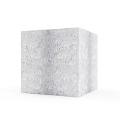 Concrete Cube isolated on white background