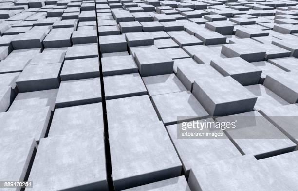concrete cubes mixed up