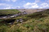 Concrete dam wall of Cow Green reservoir Upper Teesdale County Durham England