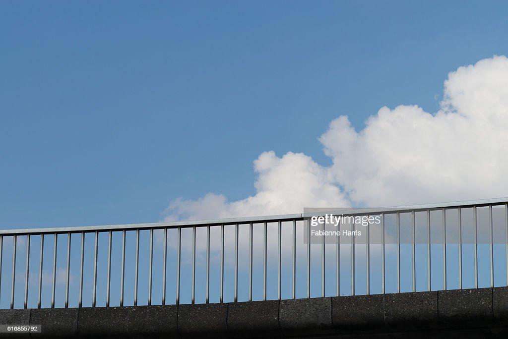 Concrete footbridge in the sky : Stock Photo