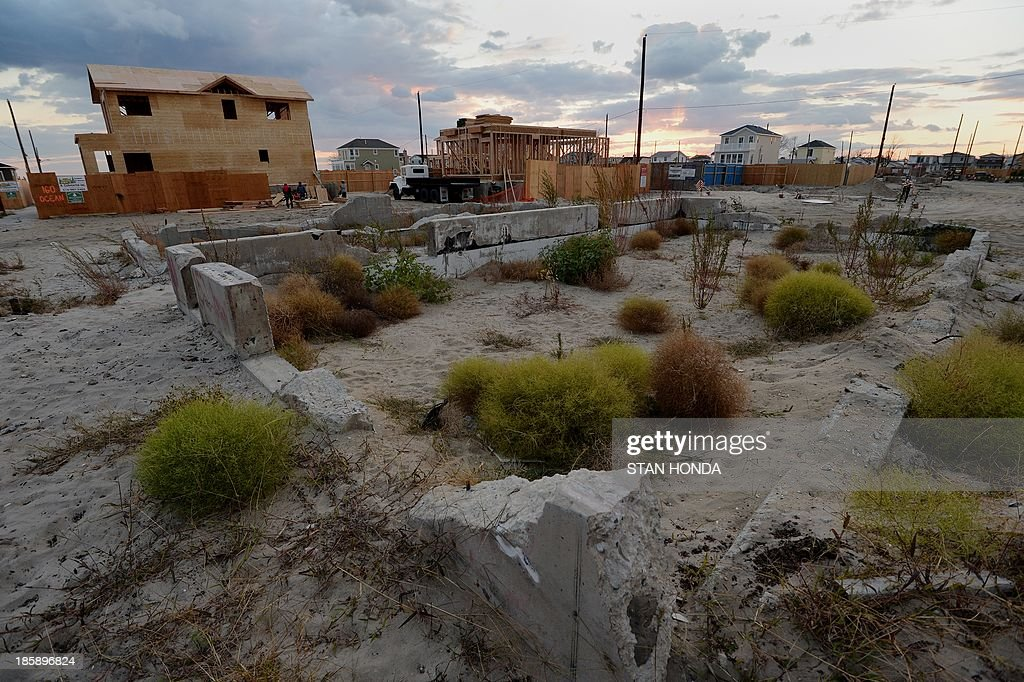 Concrete foundations where houses once stood in the Breezy Point section of the Queens borough of New York on October 24 2013 as some homeowners...