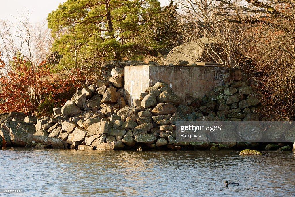 Concrete foxhole : Bildbanksbilder