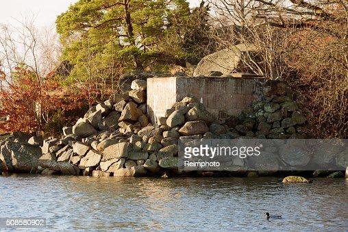 Concrete foxhole : Stock Photo