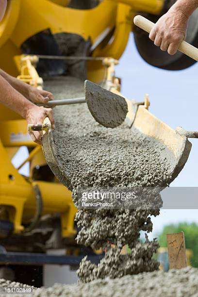 Concrete from Cement Mixer Trough for Sidewalk