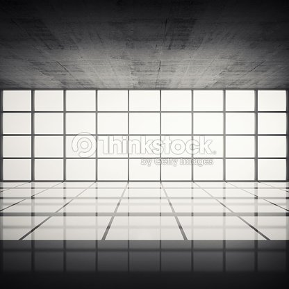 Concrete Interior With Bright Windows In Modern Frames Stock Photo ...