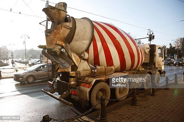 A concrete mixer is seen waiting at a traffic light on December 30 2016 in Bydgoszcz Poland Bydgoszcz is the eighthlargest city in Poland