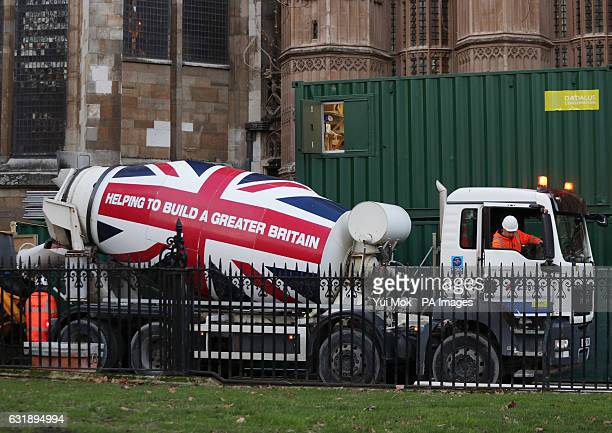A concrete mixer truck at Westminster London following Prime Minister Theresa May's speech at Lancaster House in London where she outlined her plans...