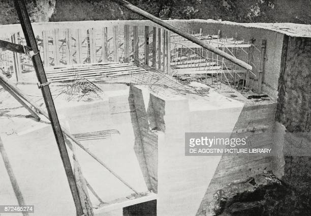 Concrete pitches designed to place great caliber pieces under construction and later abandoned Austrian fortress demolished and occupied by Italian...