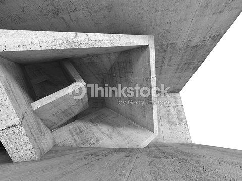 Béton intérieur de la chambre avec structure de cube en 3d : Photo