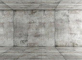 Empty room with concrete paneling - rendering