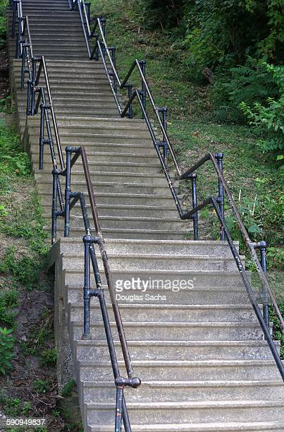 Concrete stairs going up the hill