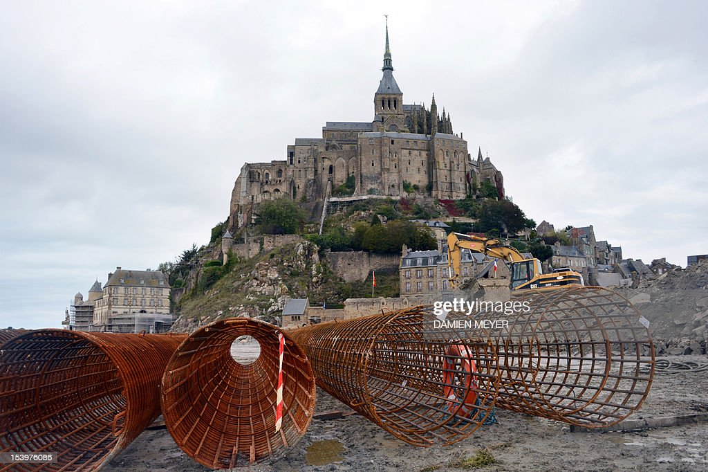 Concrete steel reinforment mesh is pictured at the Mont-Saint-Michel's new bridge construction site on october 10, 2012. The Mont-Saint-Michel, a French landmark and UNESCO world heritage, northwestern France is to return at its original state of island in 2015, the site will be connected to the mainland by a bridge, dedicated to pedestrians, shuttles and horse-drawn carriages.