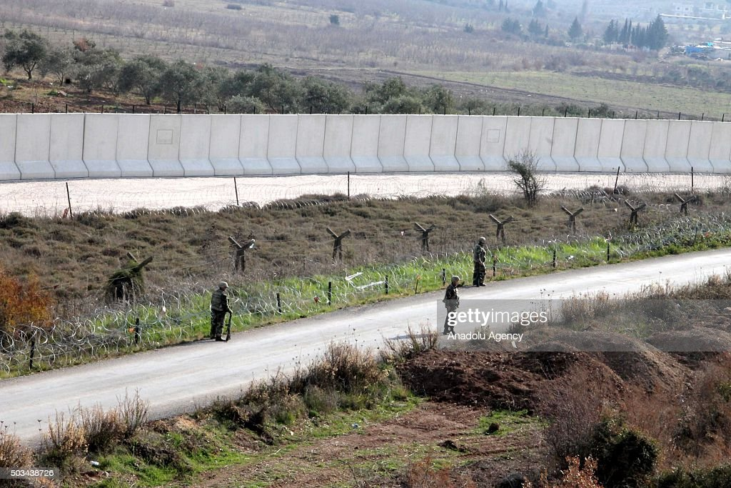 Concrete wall built along the Turkey Syria border is