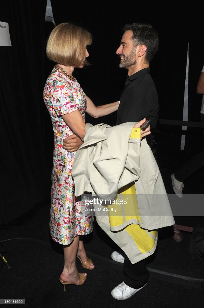 Conde Nast Artistic Director <a gi-track='captionPersonalityLinkClicked' href=/galleries/search?phrase=Anna+Wintour&family=editorial&specificpeople=202210 ng-click='$event.stopPropagation()'>Anna Wintour</a> and designer Marc Jacobs poses backstage at the Marc Jacobs Spring 2014 fashion show at The New York State Armory, 68 Lexington on September 12, 2013 in New York City.
