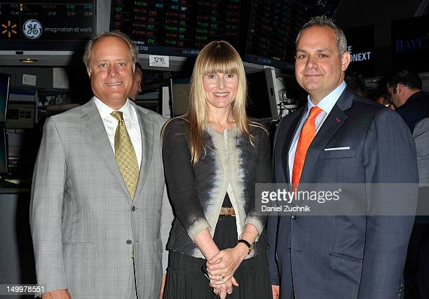 Conde Nast president Bob Sauerberg Editorinchief of Teen Vogue Amy Astley and Jason Wagenheim visit the New York Stock Exchange on August 8 2012 in...