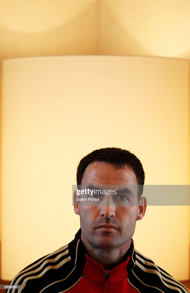 Condition coach Shad Forsythe of Germany talks to the media during a press conference of the German National Footabll team at Verdura Golf and Spa Resort is pictured on May 15, 2010 in Sciacca, Italy.