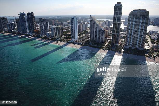 Condo buildings line the beach April 5 2016 in Sunny Isle Florida A report by the International Consortium of Investigative Journalists referred to...