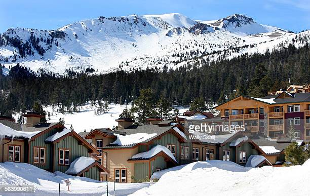 Condo units sit at the base of a snow covered Mammoth Mountain