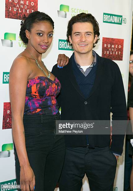 Condola Rashad and Orlando Bloom arrive at the InTheater Premiere Of 'Romeo Juliet' at Clearview Chelsea Cinemas on February 4 2014 in New York City
