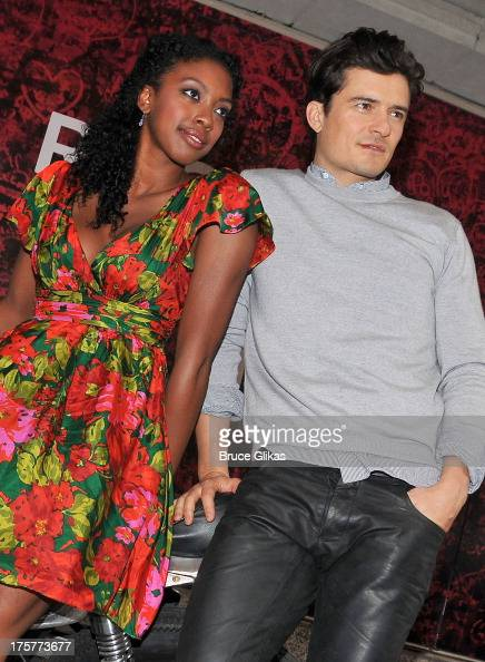 Condola Rashad and Orlando Bloom attend the 'Romeo And Juliet' Broadway Photo Call at Richard Rodgers Theatre on August 7 2013 in New York City