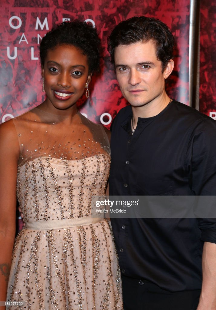Condola Rashad and Orlando Bloom attend the 'Romeo And Juliet' Broadway Opening Night after party at The Edison Ballroom on September 19 2013 in New...