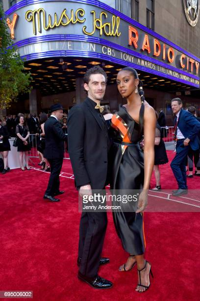 Condola Rashad and Sebastian Vallentin Stenhoj attend the 2017 Tony Awards at Radio City Music Hall on June 11 2017 in New York City
