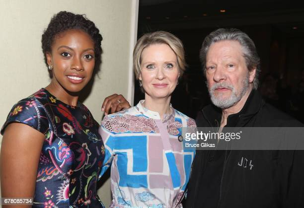 Condola Rashad Cynthia Nixon and Chris Cooper pose at The 71st Annual Tony Awards Meet the Nominees Press Junket at Sofitel Hotel on May 3 2017 in...